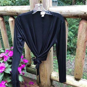 Mossimo black long sleeve wrap around sweater, XS